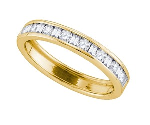 Ladies Luxury Designer 14k Yellow Gold 0.50 Cttw Diamond Accu Set Fashion Wedding Band