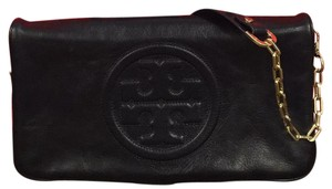 Tory Burch Bombe Reva Leather Black Clutch