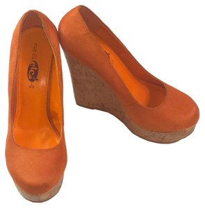 Rue 21 Suede Slip On Orange Wedges