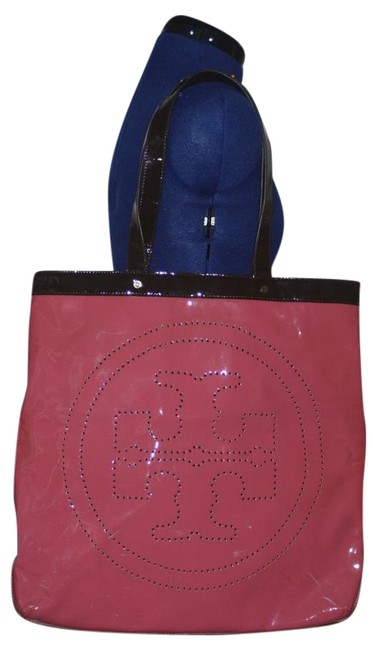 Item - Pink & Chocolate Brown Patent Leather Tote