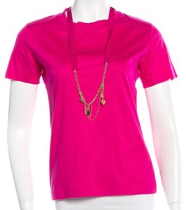 Louis Vuitton Gold Hardware Lv Charm Monogram Logo T Shirt Pink, Gold