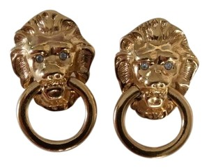 Kenneth Jay Lane KJL Lion Head Door Knocker Earrings