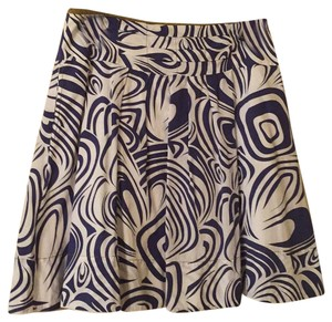 CAbi Skirt Royal blue&white print w/green detailing