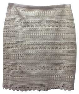 Tommy Hilfiger Eyelet Embroidered Cutout Lace Skirt Cream
