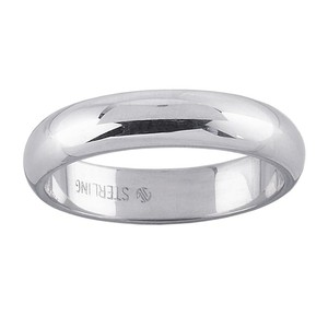 Men's Sterling Silver 4mm Half-round Wedding Band Ring