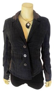 Free People P2106 Size Medium Embroidered dark blue, light blue Blazer