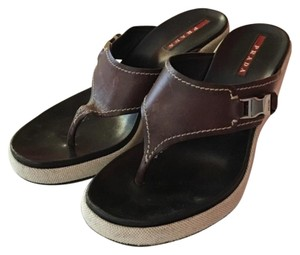 Prada Brown Leather Wedges