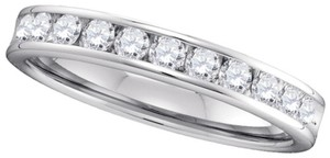 Ladies Luxury Designer 14k White Gold 1.00 Cttw Diamond Accu Set Fashion Wedding Band