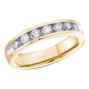 Ladies Luxury Designer 14k Yellow Gold 1.00 Cttw Diamond Accu Set Fashion Wedding Band