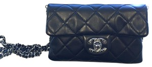 Chanel Quilted Leather Dual Pocket Chain Cross Body Bag