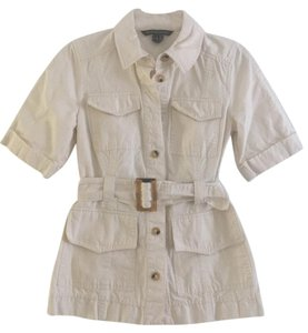 French Connection Safari Style Trench Style Button Down Shirt Beige