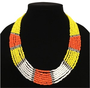 Yellow, White, Orange SeedBead Collar Statement Necklace
