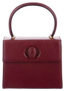Cartier Leather Top Handle Satchel Vintage Saffiano Tote in Bordeaux