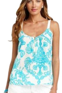 Lilly Pulitzer Top White aqua mint multi