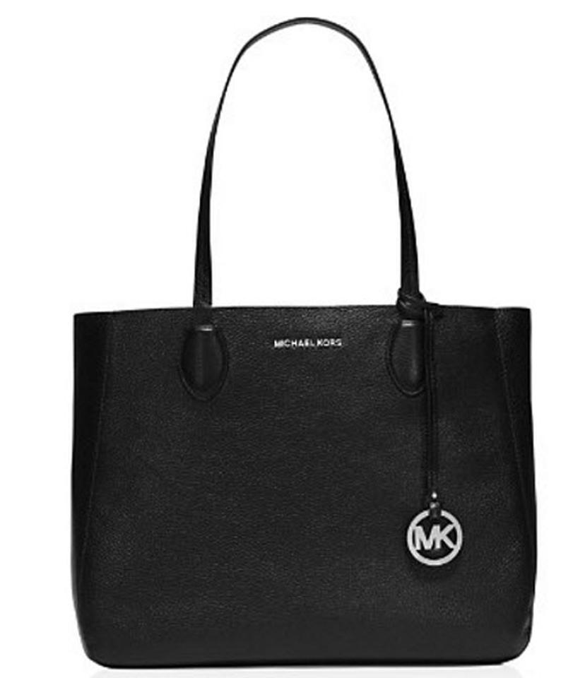 bbc7b9bfdaf8 Michael Kors Mae Soft Carryall Reversible Large Black Silver Leather ...