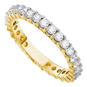 Luxury Designer 14k Yellow Gold 0.50 Cttw Diamond Accu Set Fashion Eternity Wedding Band