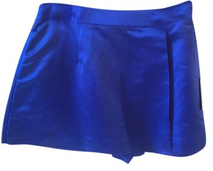 Monika Chiang Blue Satin Silk Blend Skort Cobalt