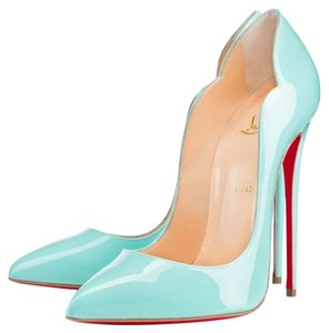 Christian Louboutin Patent Leather Pointed Toe Hot Chick So Kate 130 Blue Pumps