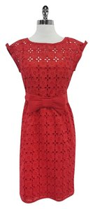 Nanette Lepore short dress Red Eyelet Floral on Tradesy