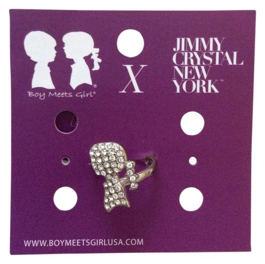 Boy Meets Girl x Jimmy Crystal New York Boy Meets Girl x Jimmy Crystal New York - Girl Swarovski Silhouette Adjustable Size Silver Ring
