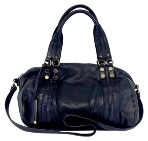 Pour La Victoire Black Duffle Style Leather Convertible Shoulder Bag