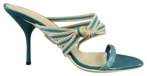 Gucci Ribbon Striped Strappy Open Toe Lacquered Teal Sandals