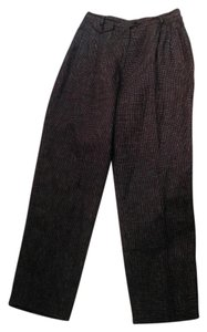 Ralph Lauren Checkered Size 12 Linen Trouser Pants Black, White