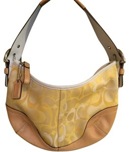 Coach Yellow Leather Satin Hobo Bag
