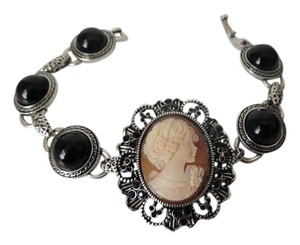 "AMEDEO AMEDEO ""Trionfo"" 25mm Crystal and Black Onyx Color Beaded Cameo Bracelet Size 7"""