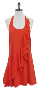 Alice + Olivia short dress Orange Ruffle Silk Halter on Tradesy