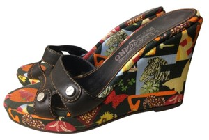 Salvatore ferragamo sandals Black with contrasting colorful animal print canvas Wedges