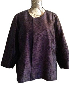 Eileen Fisher Silk Wedding Formal Jacket Blazer Top Grape tweed