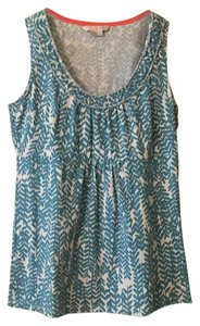 Boden Top Soft teal and white