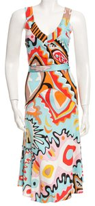 Emilio Pucci Sleeveless Belted Silk Dress