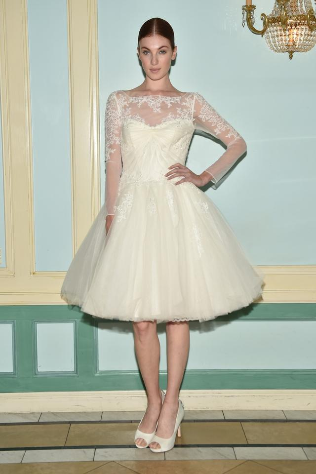 Zac Posen Ivory Tulle 3/4 Sleeve Short Vintage Wedding Dress Size 4 ...