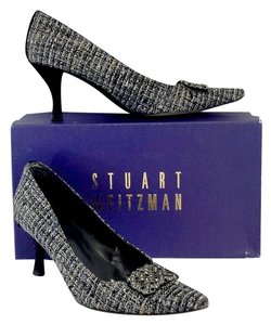 Stuart Weitzman Cobalt Tweed Embellished Heels Pumps