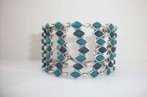 Lucky Brand New! Lucky Brand Teal Green Blue Flex Toggle Wide Bracelet Silver Tone JLRY2047
