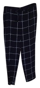 Vince Relaxed Pants Black with white windowpane print