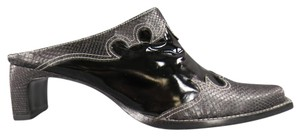 Roberto Cavalli Western Corboy Cowgirl Snakeskin Patent Black Mules