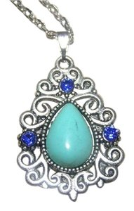 Tibet Silver Turquoise Blue Rhinestone Antiqued Necklace Free Shipping