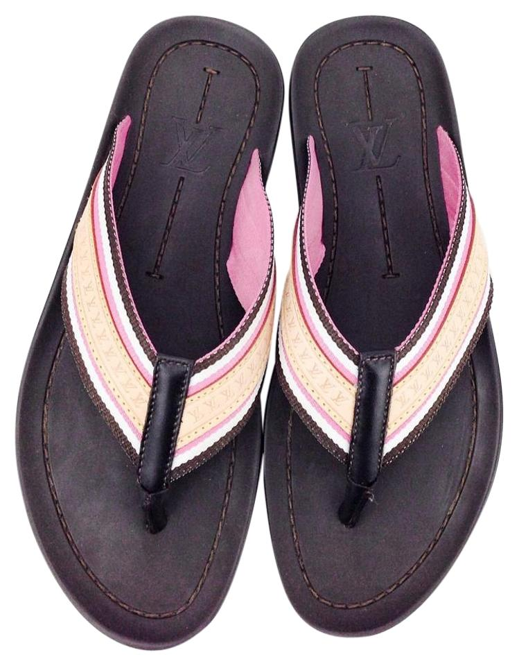 7fa2f74c0f56 Louis Vuitton Brown Pink and White Dark Bastia Leather Canvas Thong Sandals  Flats
