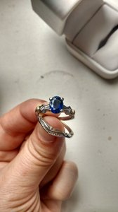& Other Stories Sapphire Stunning and Diamond White Gold Art Deco Set Engagement Ring