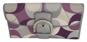 Coach Scarf Print Trifold Wallet Purple Silver