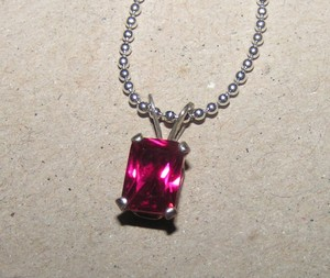 Emerald Cut Mm Ruby Sterling Pendant W/free Chain & Shipping