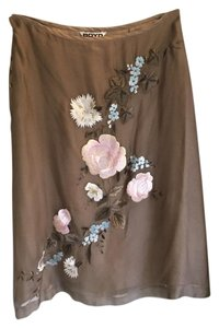Other Silk Embroidered One Of Flowers Skirt Taupe with pink and light blue detailing.