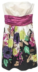 Snap short dress Floral Worn Only Once Strapless Cotton Machine Washable Painted on Tradesy