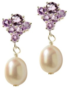 Other Cultured Freshwater Pearl and Amethyst Sterling Silver Earrings