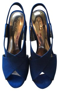 Carlos by Carlos Santana Ultrasuede Cork Heel Cobalt Blue Wedges