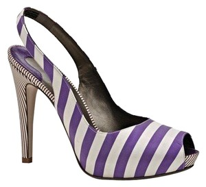 Salvatore Ferragamo Made In Italy Platform Peeptoe Satin Purple/White Pumps