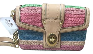 Coach Hamptons Weekend Stripe Straw Wristlet in Multi